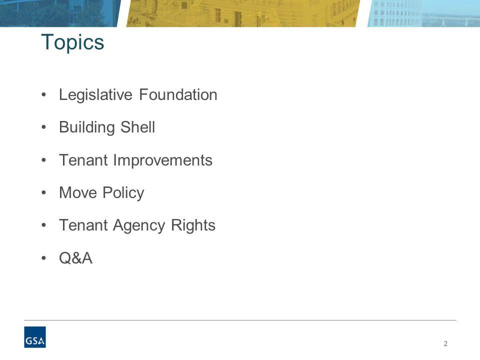 2 Topics Legislative Foundation Building Shell Tenant Improvements Move Policy Tenant Agency Rights Q&A