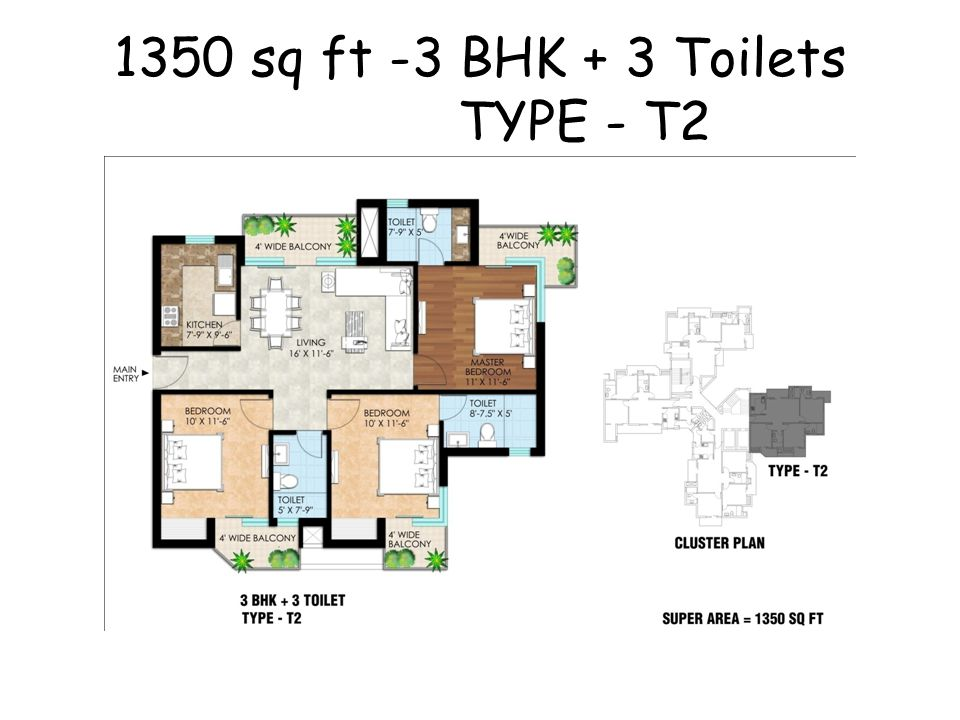 1350 sq ft -3 BHK + 3 Toilets TYPE - T2