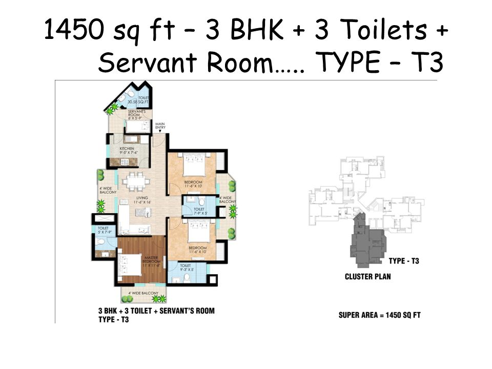 1450 sq ft – 3 BHK + 3 Toilets + Servant Room….. TYPE – T3
