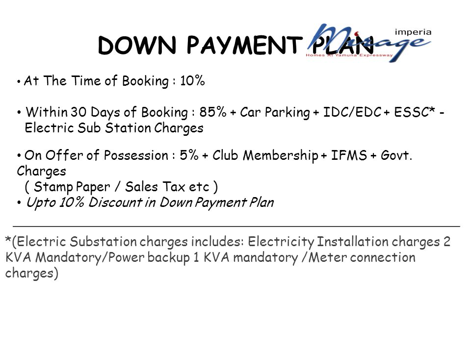 DOWN PAYMENT PLAN At The Time of Booking : 10% Within 30 Days of Booking : 85% + Car Parking + IDC/EDC + ESSC* - Electric Sub Station Charges On Offer of Possession : 5% + Club Membership + IFMS + Govt.