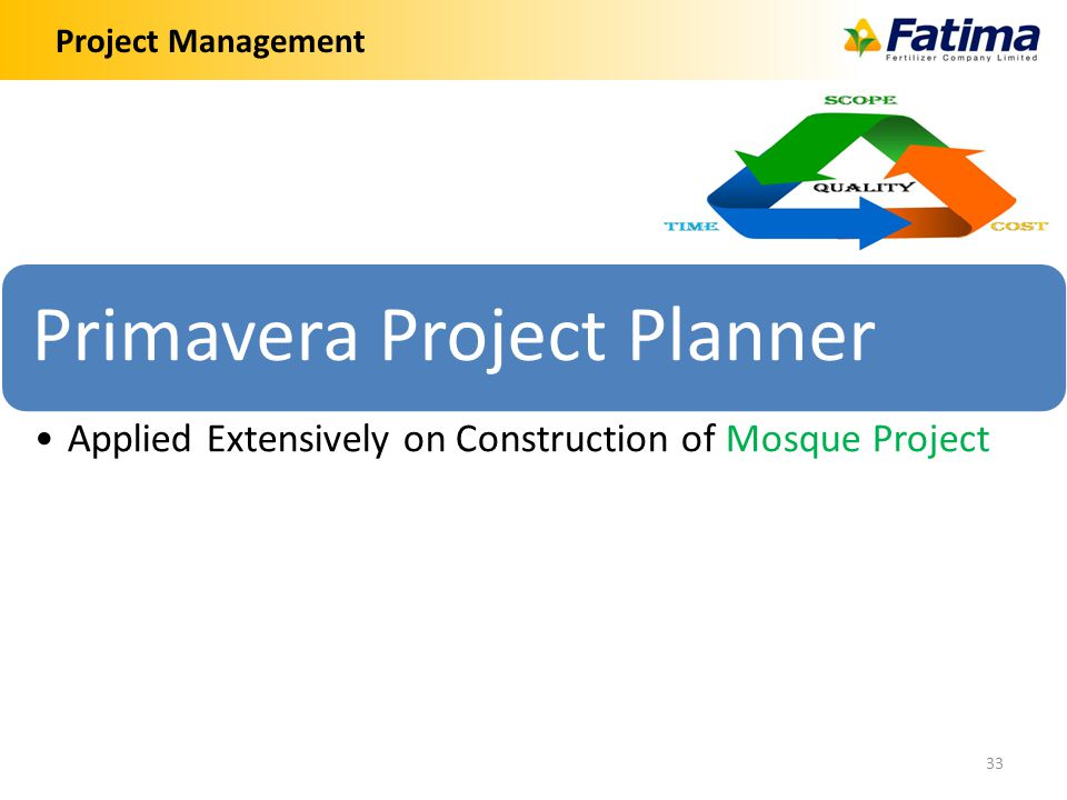 Project Management 33 Primavera Project Planner Applied Extensively on Construction of Mosque Project
