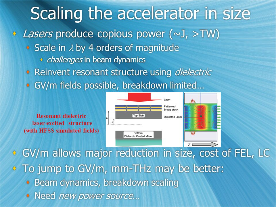 E-169 at FACET: Acceleration  Observe acceleration 10-33 cm tube length longer bunch, acceleration of tail moderate gradient, 1-3 GV/m single mode operation  z 50-150  m  r < 10  m EbEb 25 GeV Q 3 - 5 nC  Phase 3: Accelerated beam quality Momentum distribution after 33 cm (OOPIC) Witness beam Alignment, transverse wakes, BBU Group velocity & EM exposure Positrons.