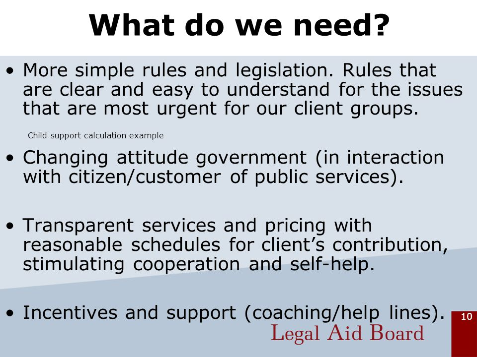 10 What do we need. More simple rules and legislation.
