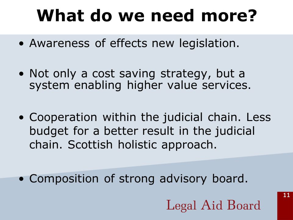 11 What do we need more. Awareness of effects new legislation.