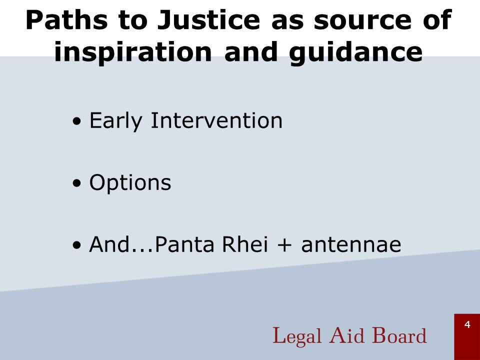 4 Paths to Justice as source of inspiration and guidance Early Intervention Options And...Panta Rhei + antennae