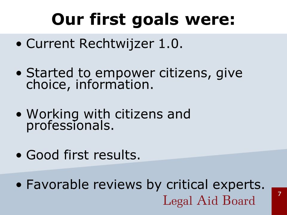 7 Our first goals were: Current Rechtwijzer 1.0.