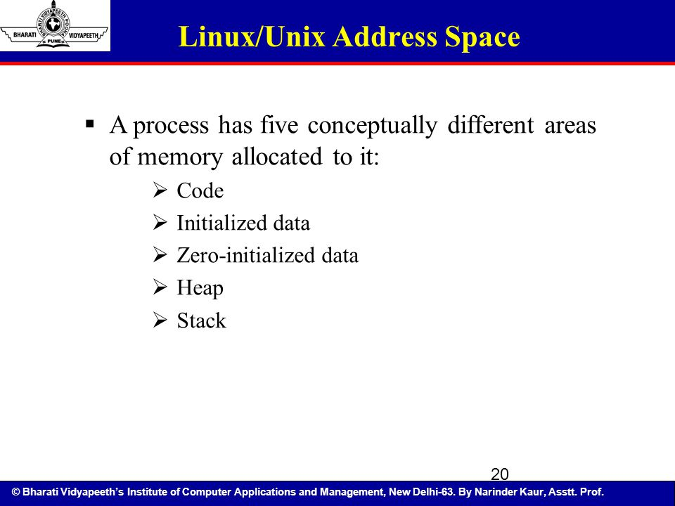 © Bharati Vidyapeeth's Institute of Computer Applications and Management, New Delhi-63. By Narinder Kaur, Asstt. Prof. 20 Linux/Unix Address Space  A
