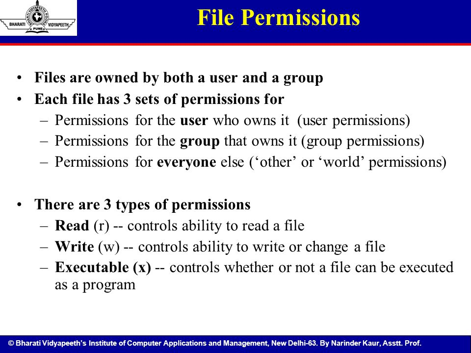 © Bharati Vidyapeeth's Institute of Computer Applications and Management, New Delhi-63. By Narinder Kaur, Asstt. Prof. File Permissions Files are owne