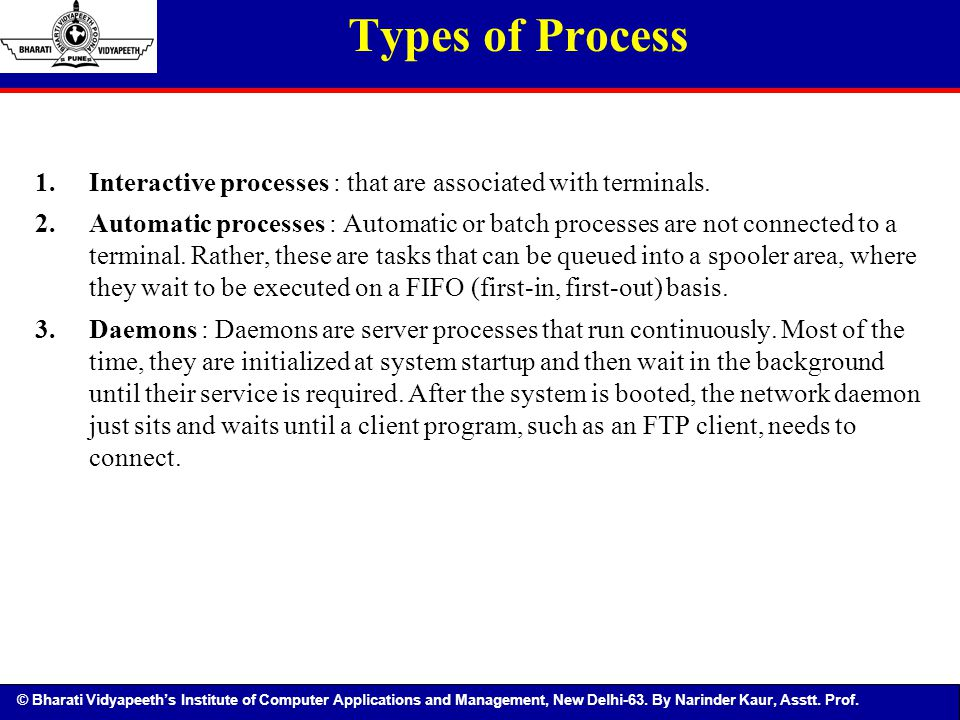 © Bharati Vidyapeeth's Institute of Computer Applications and Management, New Delhi-63. By Narinder Kaur, Asstt. Prof. 1.Interactive processes : that