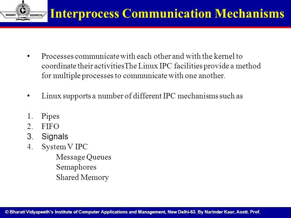 © Bharati Vidyapeeth's Institute of Computer Applications and Management, New Delhi-63. By Narinder Kaur, Asstt. Prof. Interprocess Communication Mech