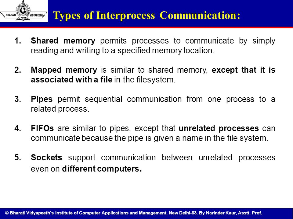 © Bharati Vidyapeeth's Institute of Computer Applications and Management, New Delhi-63. By Narinder Kaur, Asstt. Prof. 1.Shared memory permits process