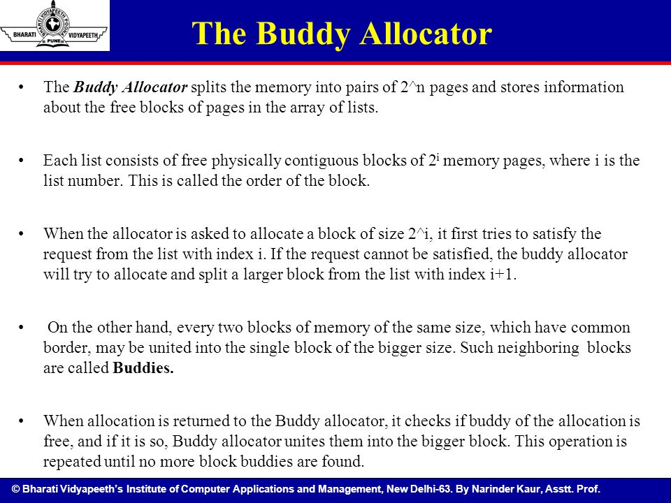 © Bharati Vidyapeeth's Institute of Computer Applications and Management, New Delhi-63. By Narinder Kaur, Asstt. Prof. The Buddy Allocator The Buddy A