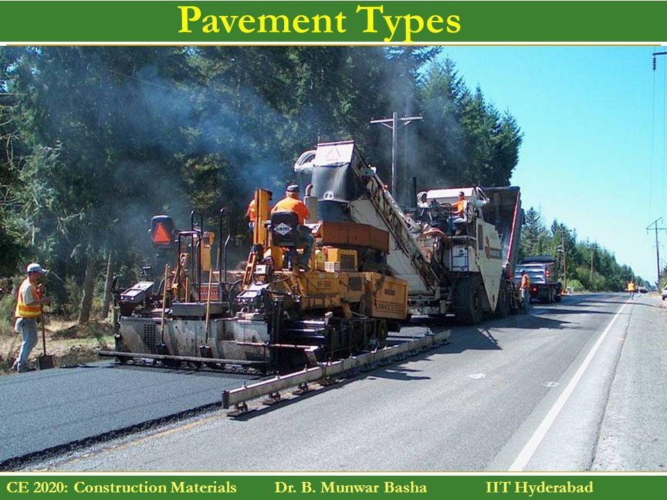 CE 2020: Construction Materials Dr. B. Munwar Basha IIT Hyderabad Pavement Types