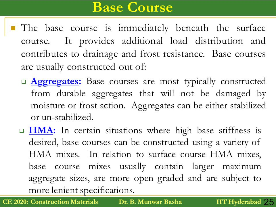 CE 2020: Construction Materials Dr. B. Munwar Basha IIT Hyderabad 25 Base Course The base course is immediately beneath the surface course. It provide
