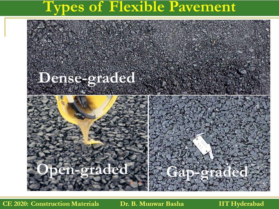 CE 2020: Construction Materials Dr. B. Munwar Basha IIT Hyderabad Types of Flexible Pavement Dense-graded Open-graded Gap-graded