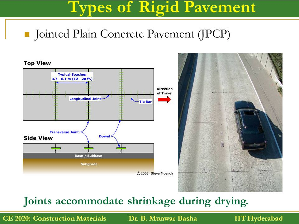 CE 2020: Construction Materials Dr. B. Munwar Basha IIT Hyderabad Types of Rigid Pavement Jointed Plain Concrete Pavement (JPCP) Joints accommodate sh