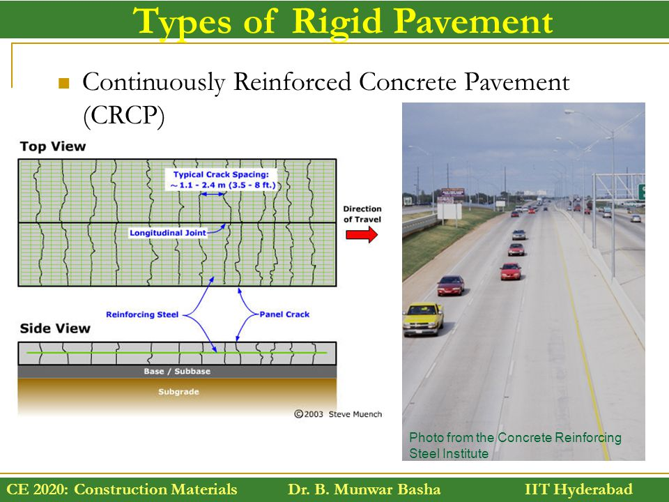 CE 2020: Construction Materials Dr. B. Munwar Basha IIT Hyderabad Types of Rigid Pavement Continuously Reinforced Concrete Pavement (CRCP) Photo from