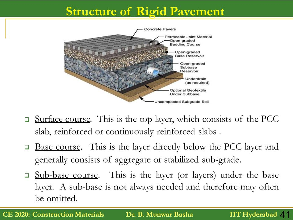 CE 2020: Construction Materials Dr. B. Munwar Basha IIT Hyderabad 41 Structure of Rigid Pavement  Surface course. This is the top layer, which consis