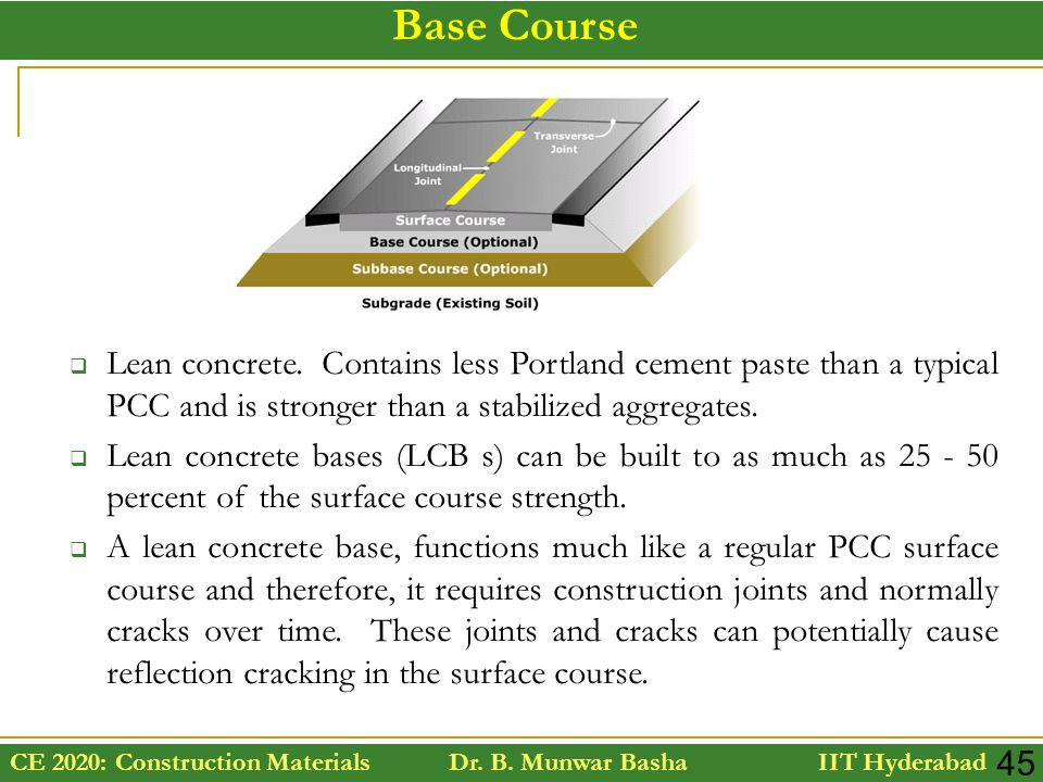 CE 2020: Construction Materials Dr. B. Munwar Basha IIT Hyderabad 45  Lean concrete. Contains less Portland cement paste than a typical PCC and is st