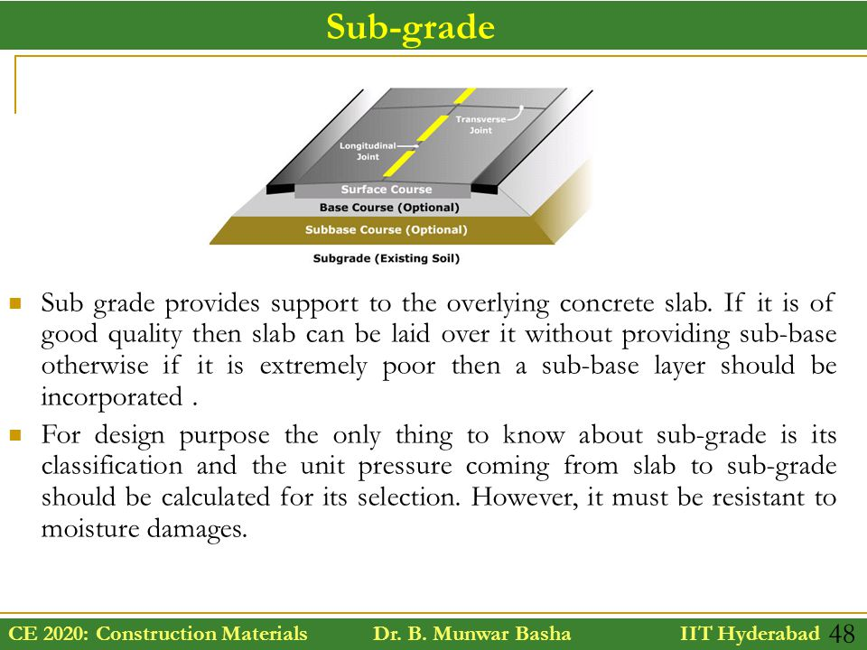 CE 2020: Construction Materials Dr. B. Munwar Basha IIT Hyderabad 48 Sub grade provides support to the overlying concrete slab. If it is of good quali