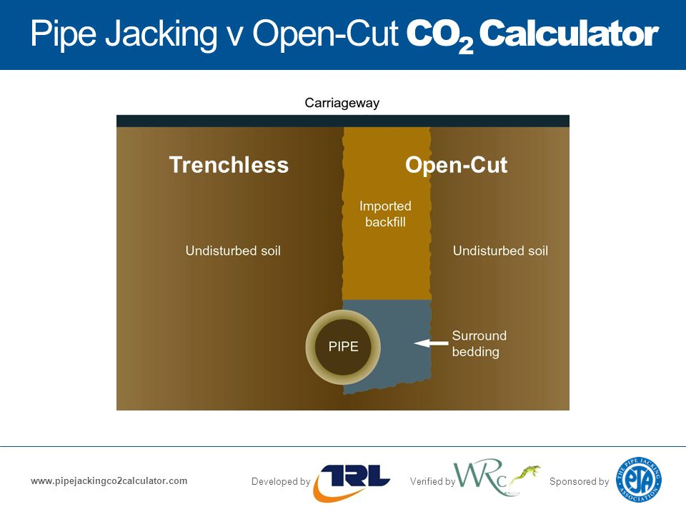 Pipe Jacking v Open-Cut CO 2 Calculator Developed byVerified bySponsored by www.pipejackingco2calculator.com TrenchlessOpen-Cut