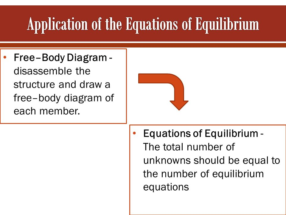 Free–Body Diagram - disassemble the structure and draw a free–body diagram of each member. Equations of Equilibrium - The total number of unknowns sho