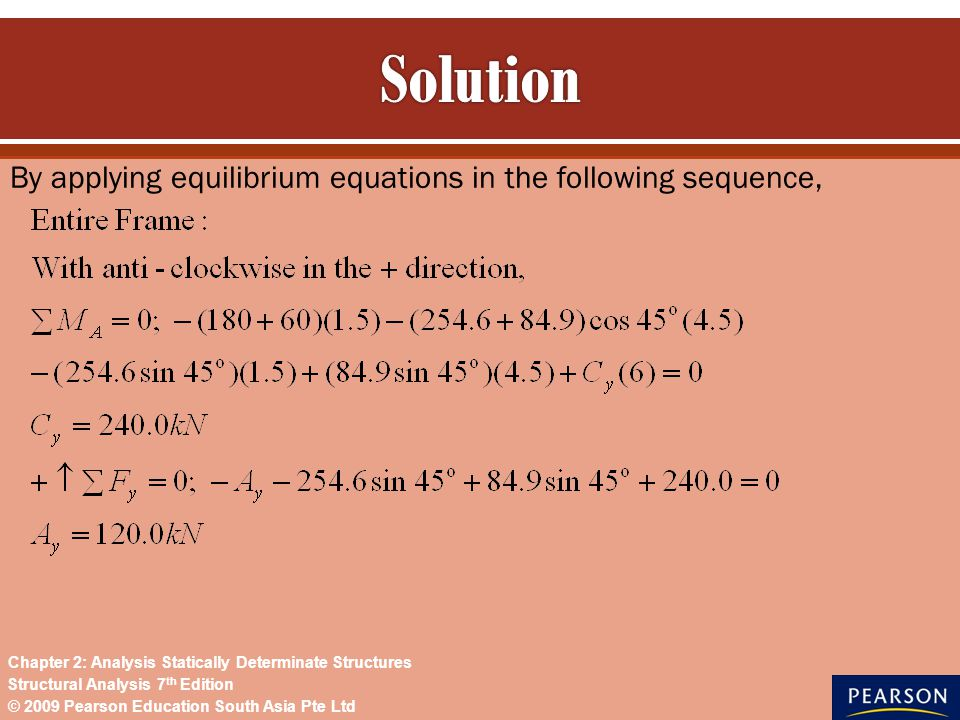 By applying equilibrium equations in the following sequence, © 2009 Pearson Education South Asia Pte Ltd Structural Analysis 7 th Edition Chapter 2: A