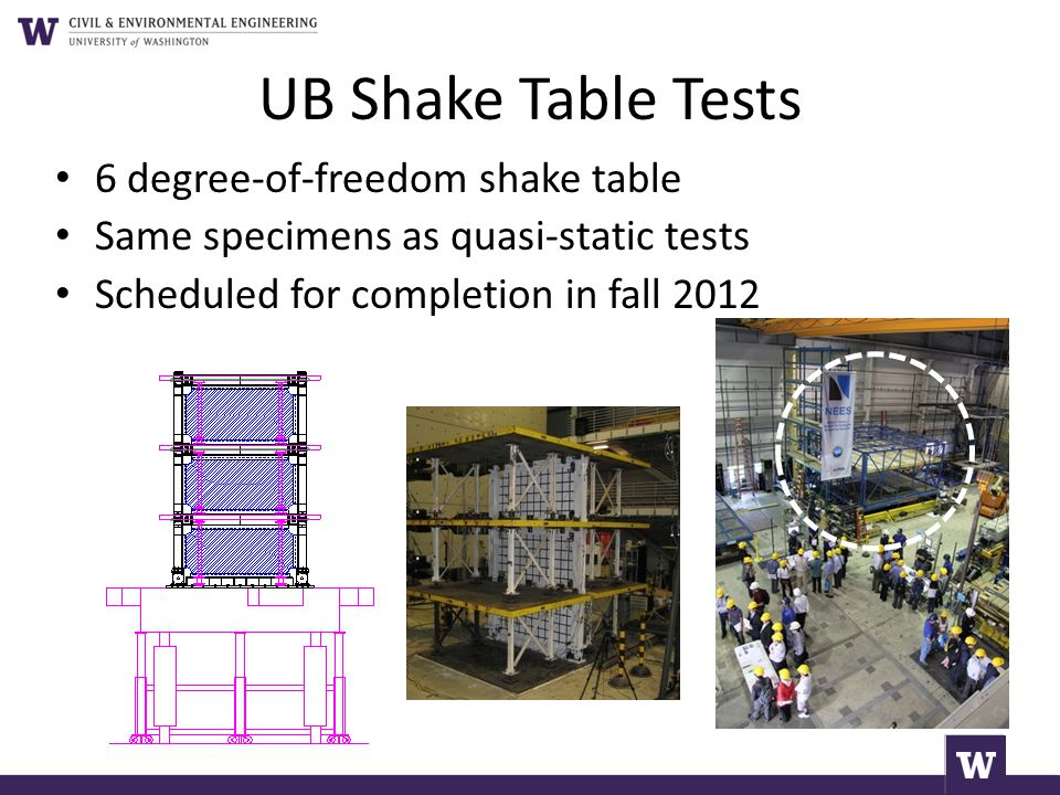 UB Shake Table Tests 6 degree-of-freedom shake table Same specimens as quasi-static tests Scheduled for completion in fall 2012