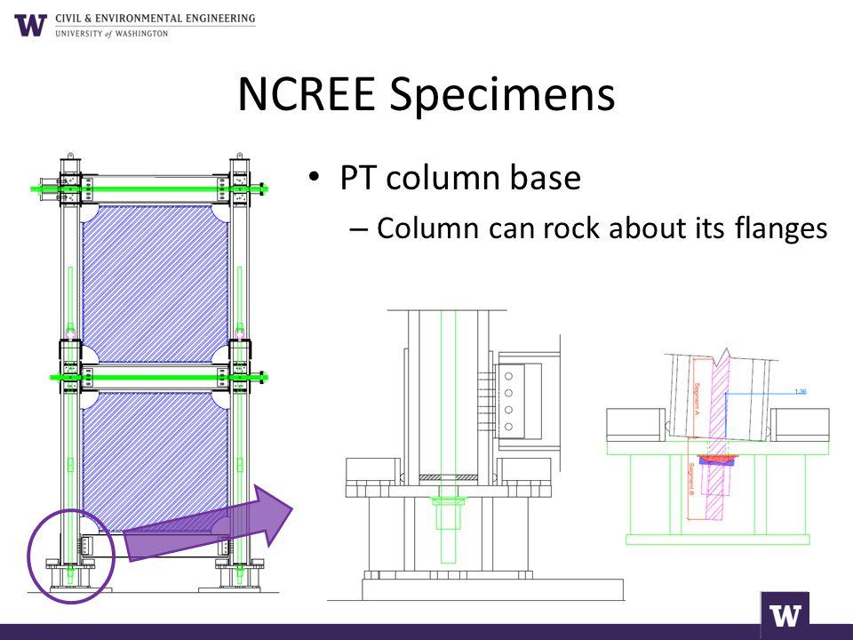NCREE Specimens PT column base – Column can rock about its flanges