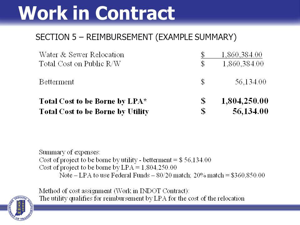 Work in Contract SECTION 5 – REIMBURSEMENT (EXAMPLE SUMMARY)