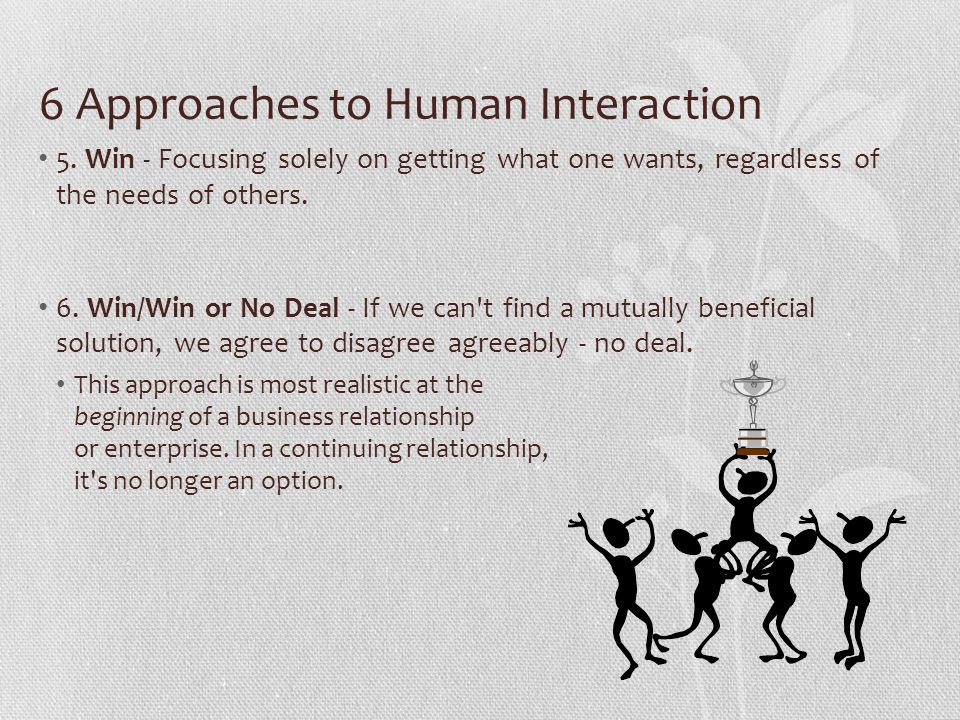 6 Approaches to Human Interaction 5. Win - Focusing solely on getting what one wants, regardless of the needs of others. 6. Win/Win or No Deal - If we
