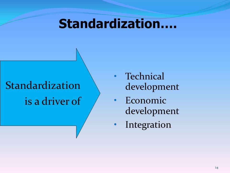 Standardization…. Standardization is a driver of Technical development Economic development Integration 14
