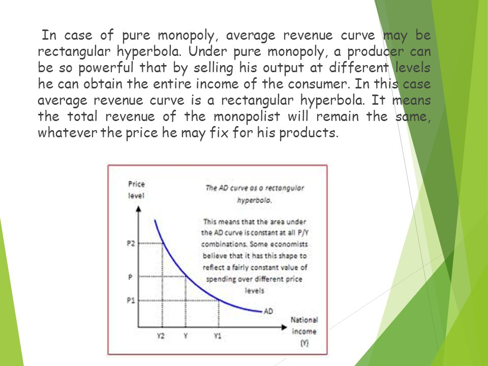In case of pure monopoly, average revenue curve may be rectangular hyperbola. Under pure monopoly, a producer can be so powerful that by selling his o