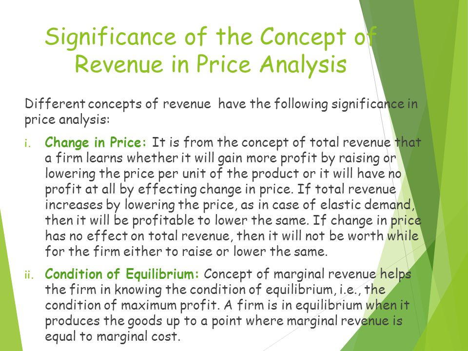 Significance of the Concept of Revenue in Price Analysis Different concepts of revenue have the following significance in price analysis: i. Change in