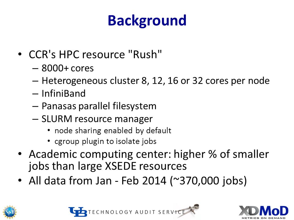 TECHNOLOGY AUDIT SERVICE Background CCR s HPC resource Rush – 8000+ cores – Heterogeneous cluster 8, 12, 16 or 32 cores per node – InfiniBand – Panasas parallel filesystem – SLURM resource manager node sharing enabled by default cgroup plugin to isolate jobs Academic computing center: higher % of smaller jobs than large XSEDE resources All data from Jan - Feb 2014 (~370,000 jobs)