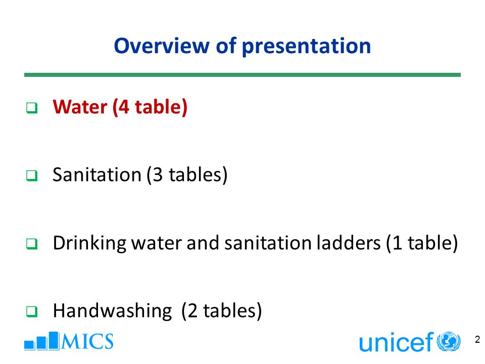Overview of presentation 2  Water (4 table)  Sanitation (3 tables)  Drinking water and sanitation ladders (1 table)  Handwashing (2 tables)