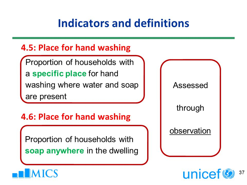 Indicators and definitions 4.5: Place for hand washing 4.6: Place for hand washing 37 Proportion of households with a specific place for hand washing