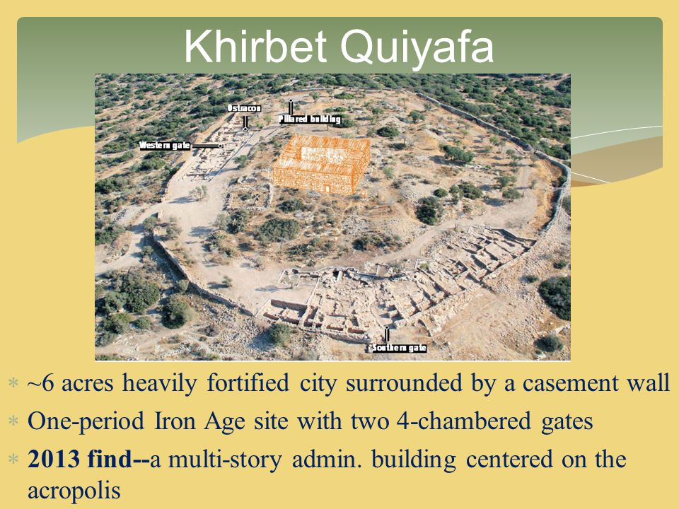  ~6 acres heavily fortified city surrounded by a casement wall  One-period Iron Age site with two 4-chambered gates  2013 find--a multi-story admin