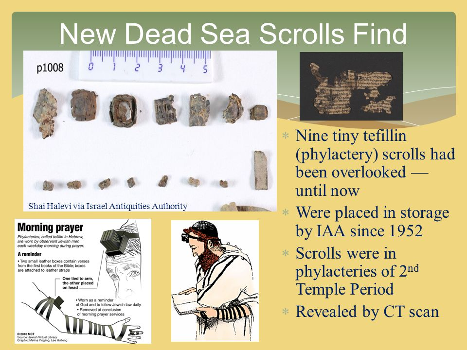  Nine tiny tefillin (phylactery) scrolls had been overlooked — until now  Were placed in storage by IAA since 1952  Scrolls were in phylacteries of