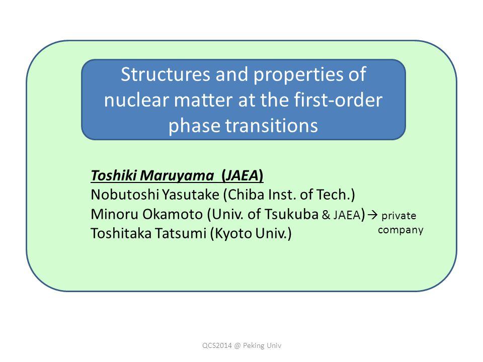 Toshiki Maruyama (JAEA) Nobutoshi Yasutake (Chiba Inst. of Tech.) Minoru Okamoto (Univ. of Tsukuba & JAEA ) Toshitaka Tatsumi (Kyoto Univ.) Structures