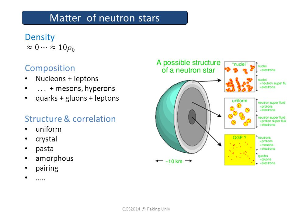 Matter of neutron stars QCS2014 @ Peking Univ