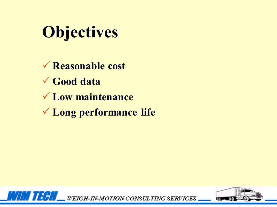 Objectives  Reasonable cost  Good data  Low maintenance  Long performance life