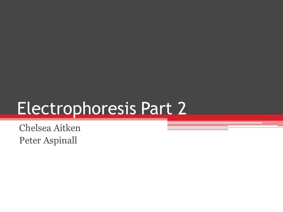 Electrophoresis Part 2 Chelsea Aitken Peter Aspinall