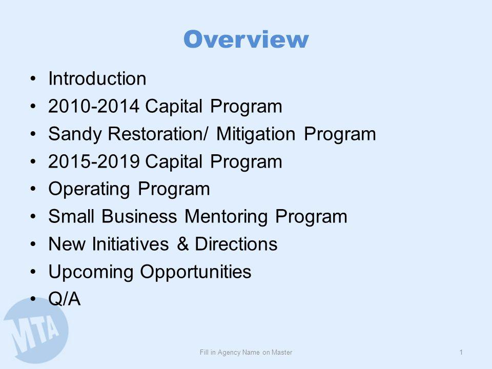 Overview Introduction 2010-2014 Capital Program Sandy Restoration/ Mitigation Program 2015-2019 Capital Program Operating Program Small Business Mento