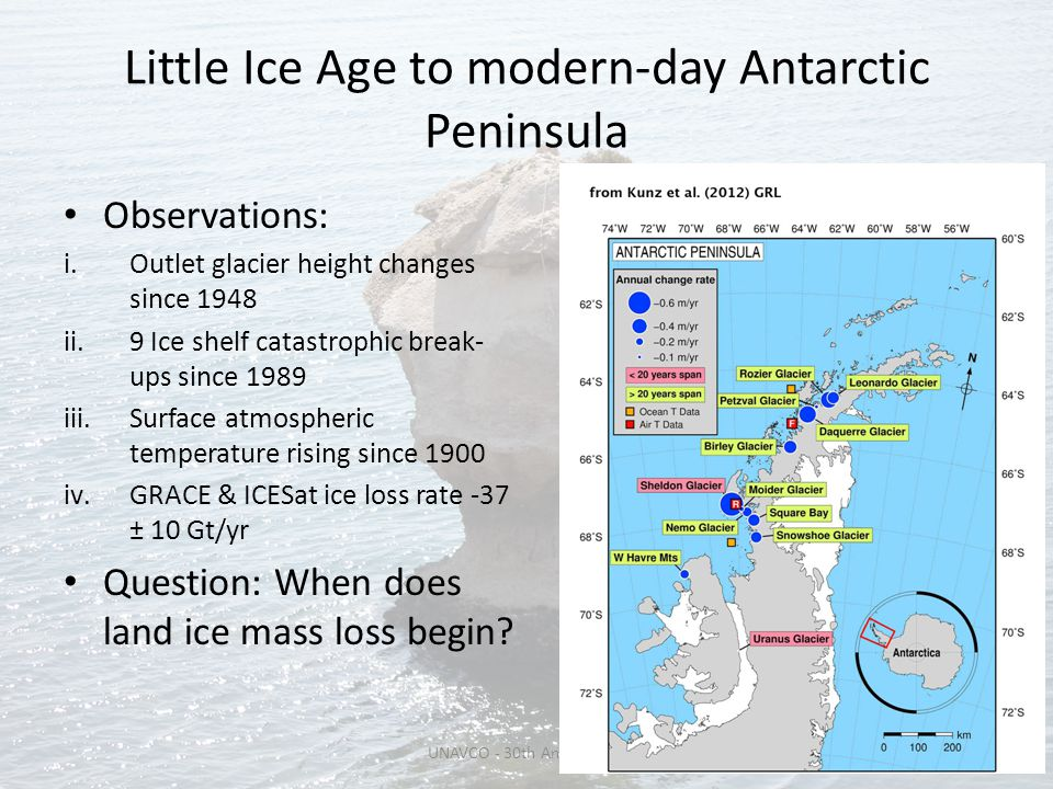 Little Ice Age to modern-day Antarctic Peninsula Observations: i.Outlet glacier height changes since 1948 ii.9 Ice shelf catastrophic break- ups since