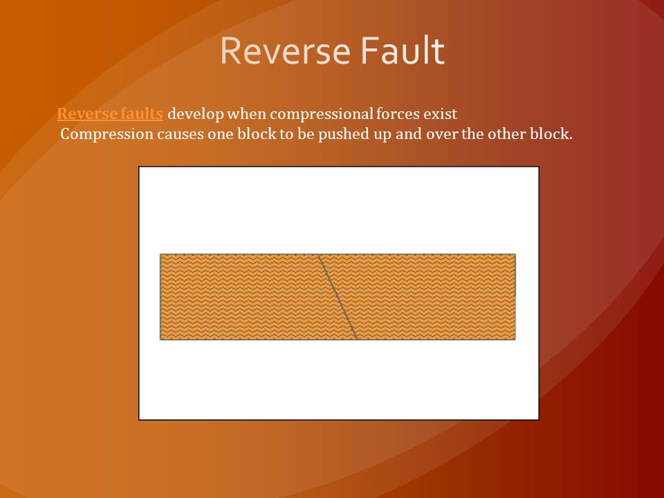 Reverse faultsReverse faults develop when compressional forces exist Compression causes one block to be pushed up and over the other block.