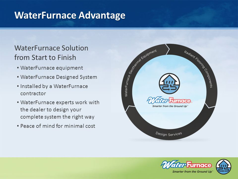 WaterFurnace Advantage WaterFurnace Solution from Start to Finish WaterFurnace equipment WaterFurnace Designed System Installed by a WaterFurnace contractor WaterFurnace experts work with the dealer to design your complete system the right way Peace of mind for minimal cost