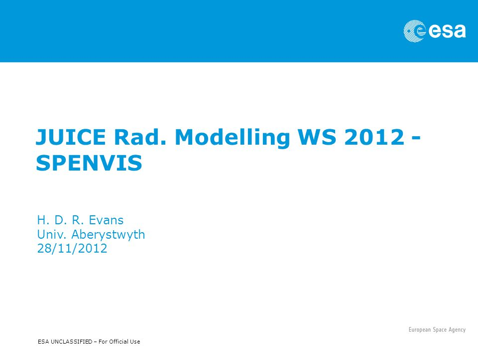 ESA UNCLASSIFIED – For Official Use JUICE Rad. Modelling WS 2012 - SPENVIS H.