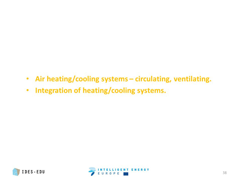 Air heating/cooling systems – circulating, ventilating. Integration of heating/cooling systems. 38
