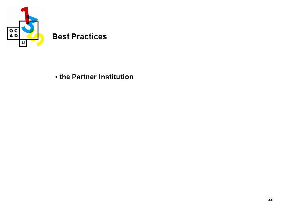 22 Best Practices the Partner Institution